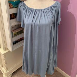 Silence + Noise off the shoulder blue dress | L